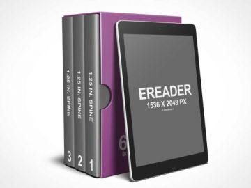 3 Books @ 6 x 9 Box Set with eReader PSD Mockup