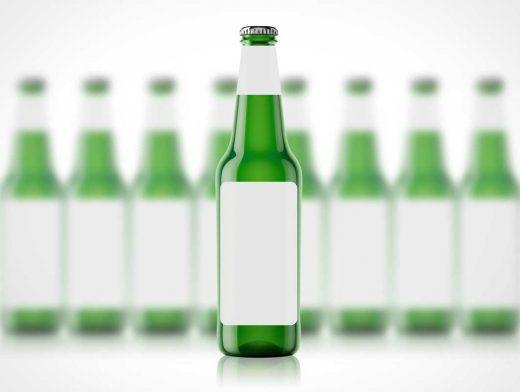 3D Long Neck Beer Bottle PSD Mockup