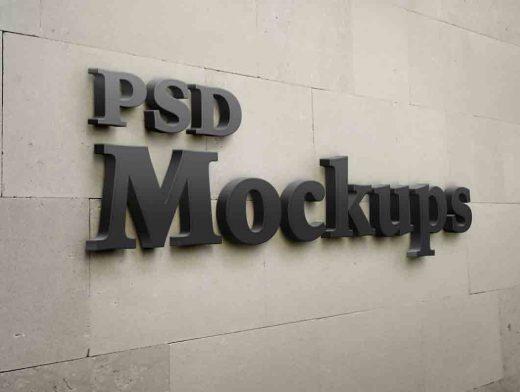 3D Stone Wall Company Logo PSD Mockup