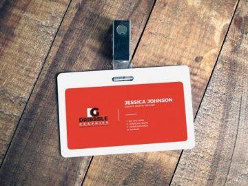 Access ID Card Badge Front & Clip PSD Mockup