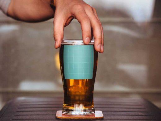 Beer Glass Branding PSD Mockup
