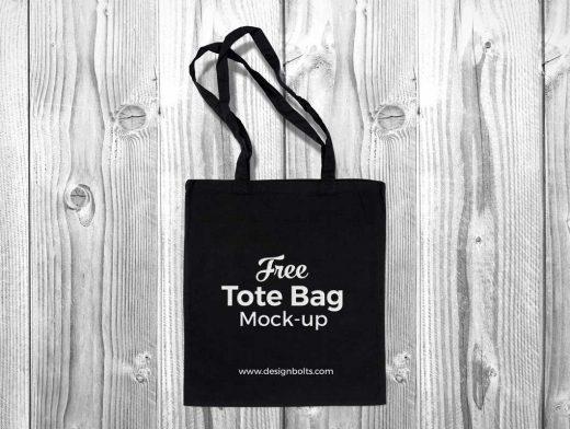 Black Cotton Tote Shopping Bag PSD Mockup