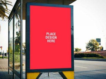 Bus Stop Billboard Advertising PSD mockup