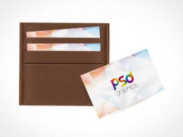 Business Card In Wallet PSD Mockup
