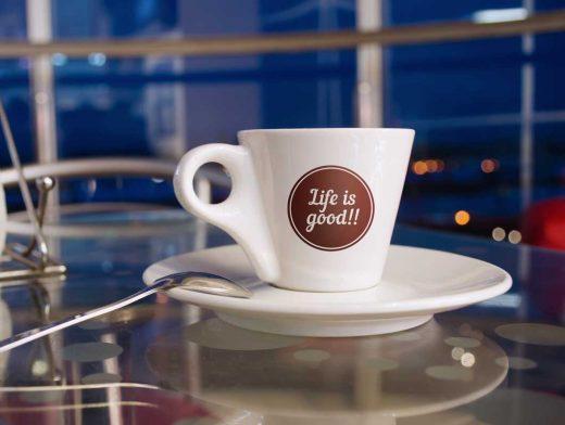 Coffee Cup Evening Cafe Scene PSD Mockup