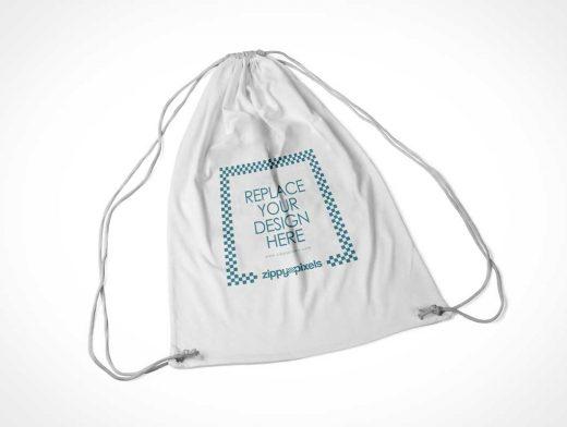 Fabric Drawstring Backpack Bag PSD Mockup