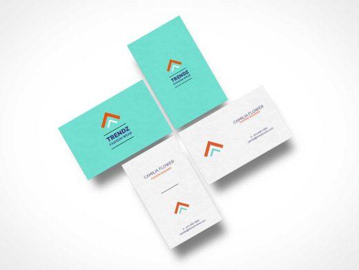 Floating Set of Free Business Cards PSD Mockup