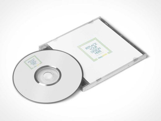 Free Stylish CD Jewel Case & Label Sticker PSD Mockup