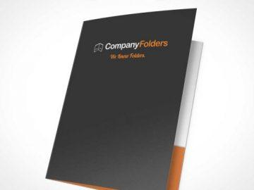 Front Facing Open Folder PSD Mockup Within Inside Pockets