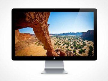 Front Facing Thunderbolt LCD Monitor PSD Mockup
