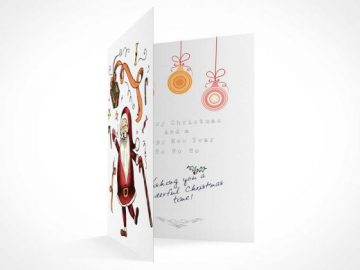 Greeting Card Portrait Mode PSD Mockup