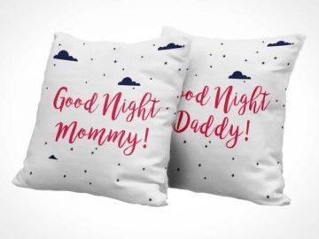 Heavy Cotton Fabric Throw Pillows PSD Mockup