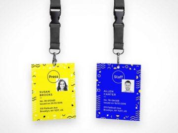 ID Badge PSD Mockup Corporate ID With Lanyard