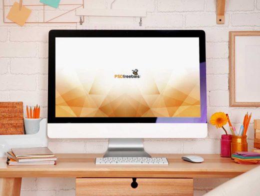 iMac Desktop Workspace Forward Scene PSD Mockup