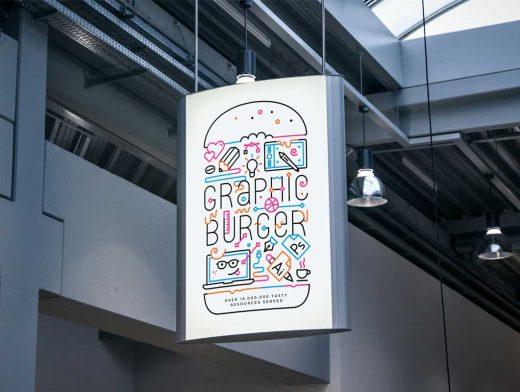 Indoor Backlit Advertising Poster PSD MockUp Sign