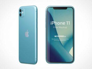 iPhone 11 Front & Back Views PSD Mockup