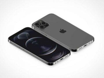 iPhone 12 Pro Screen & Back Cameras PSD Mockup