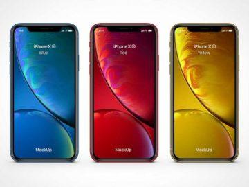 iPhone XR Smartphone & Screen Notch PSD Mockup