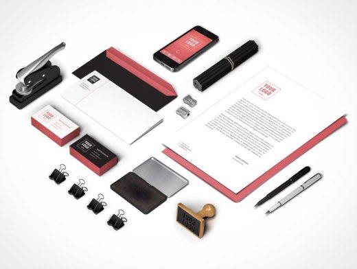 Isometric Branding Identity PSD Mockup