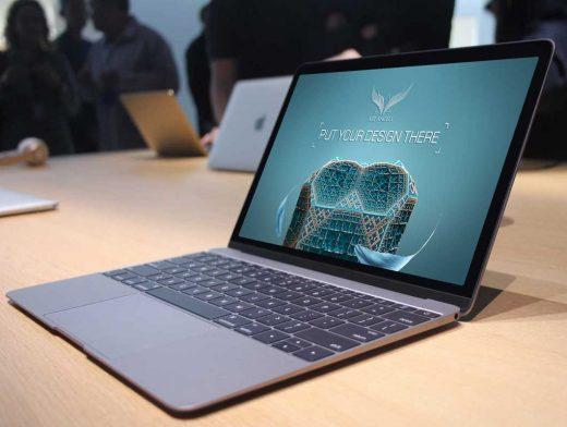 MacBook In Store Scene PSD Mockup