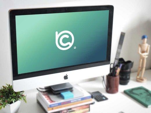 Photorealistic iMac Work Desk Scene PSD Mockup