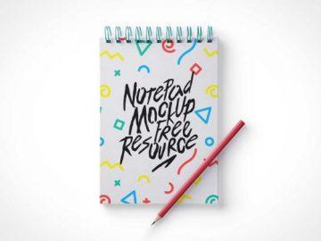 Ringed Sketch Notepad PSD Mockup