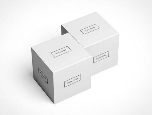 Slide Box Package PSD Mockup Multiple Isometric Views