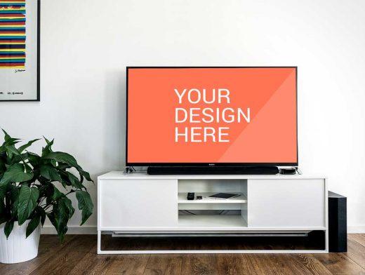 Sony LCD TV PSD Mockup Living Room Scene