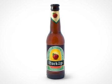 Standing Beer Bottle PSD Mockup