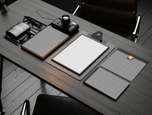 Stationery Office Desk Scene PSD Mockup