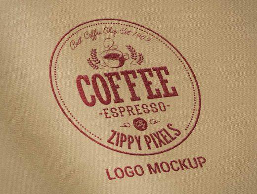 Stitched Company Badge On Fabric PSD Mockup