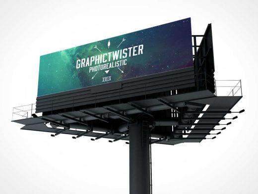 Triple Multi-Direction Billboard PSD Mockup
