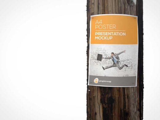 Utility Pole Flyer Poster PSD Mockup