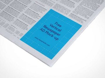 Vertical Newspaper PSD Mockup Ad Spot