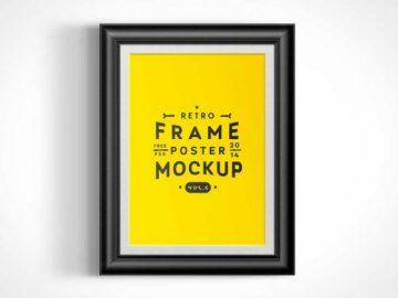 Wall Mounted Poster Frame PSD Mockup Vol6