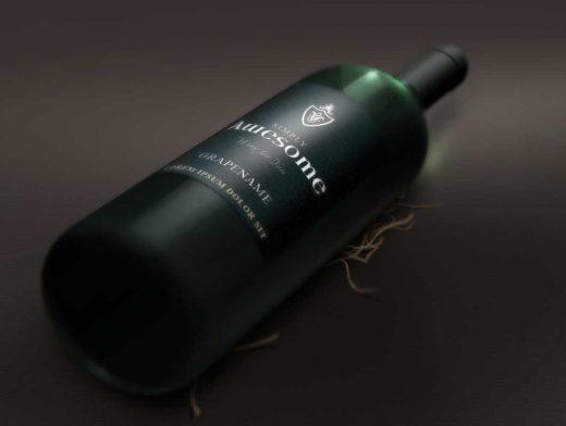 Wine Bottle In Dark Setting PSD Mockup