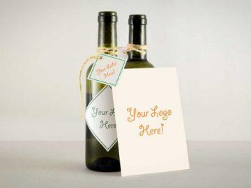 Wine Bottle String Tied Greeting Card PSD MockUp